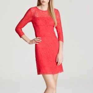 NWT Laundry Shelli Segal Tiered Lace Coral Dress